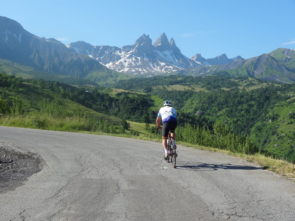 On the Col du Mollard with a backdrop of the Aiguilles des Arves