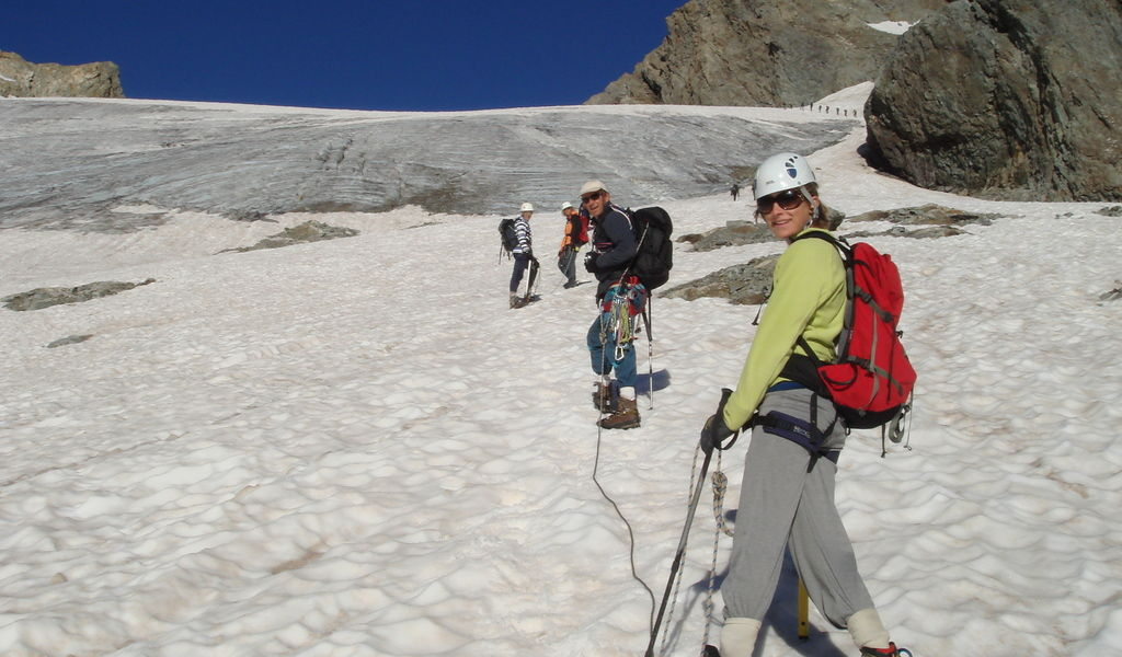 Cramponing up the glacier to The Col du Gioberney