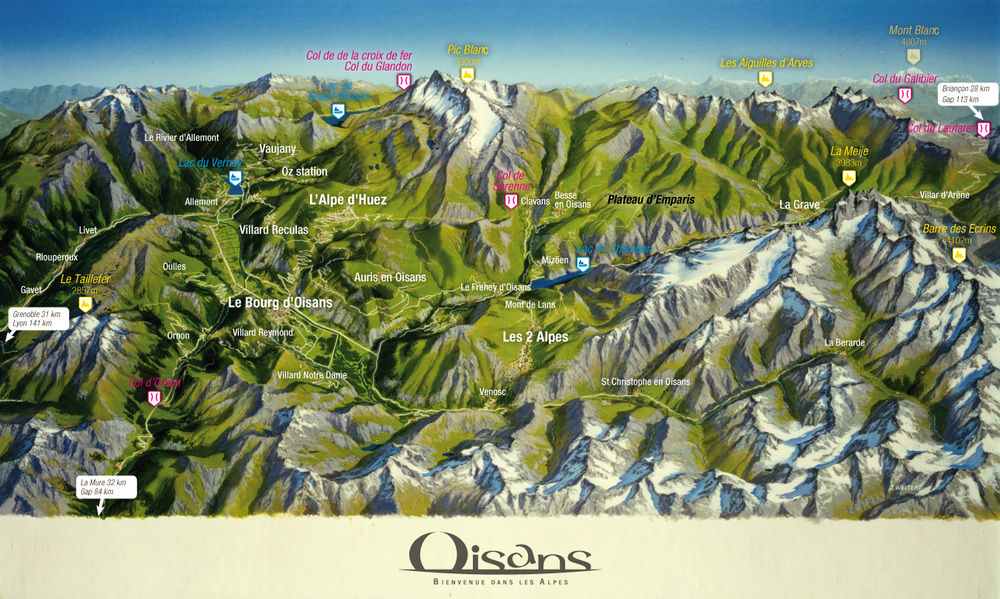 Oisans cycle map